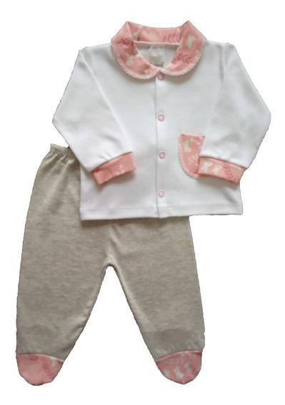 Conjunto Maternidade Bebê Menina Com Gola 100% Algodão