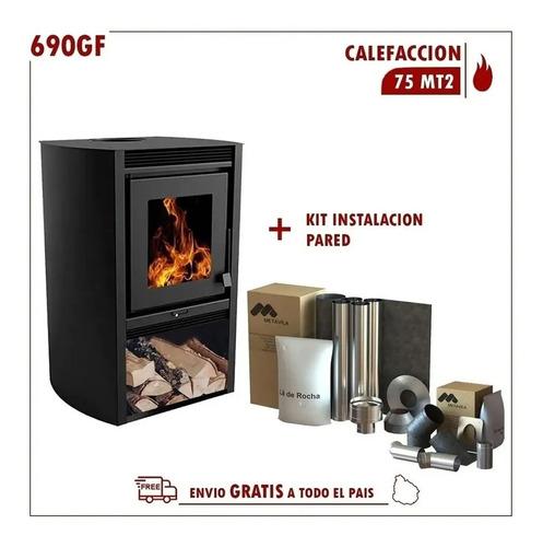 Estufa Calefactor Leña 78m2 Kit Codos + Kit Caños Acero Inox