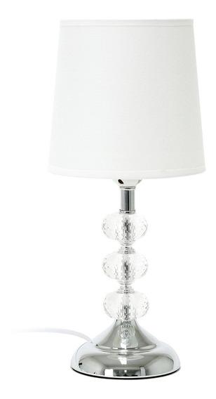 Abajur De Mesa Sofisticado Branco Decoração Metal C/ Cristal