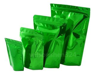25 Bolsas De Aluminio Verde Stand Up Zip Cerradura De Oxígen