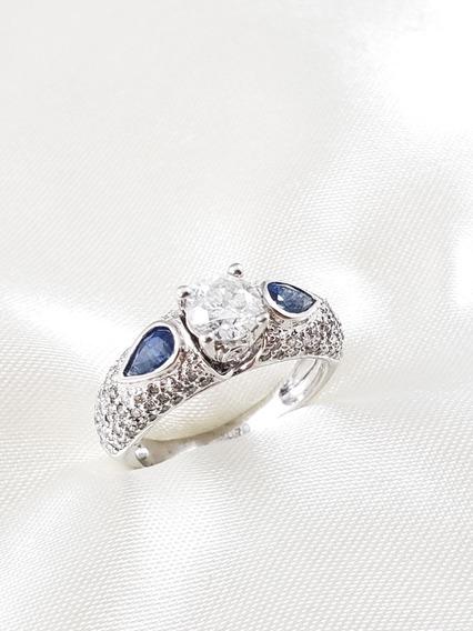 Anel Solitário Ouro Branco Com Diamante 65 Pontos E Safiras