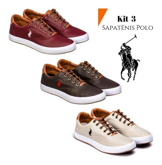 Sapatenis Masculino Polo Original Kit 3 Pares Em Até 12x