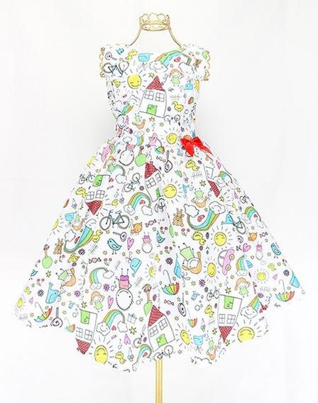 Vestido Desenho Infantil Colorido Alegre D Crianças Ano Novo
