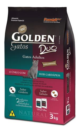 Ração Golden Premium Especial Duo para gato adulto sabor cordeiro/salmão em saco de 3kg