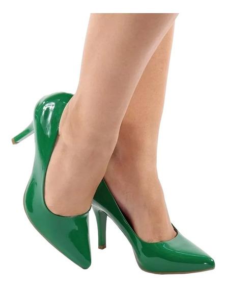 Scarpin Salto Alto Fino Verde Bandeira Verniz Bico Fino 9cm