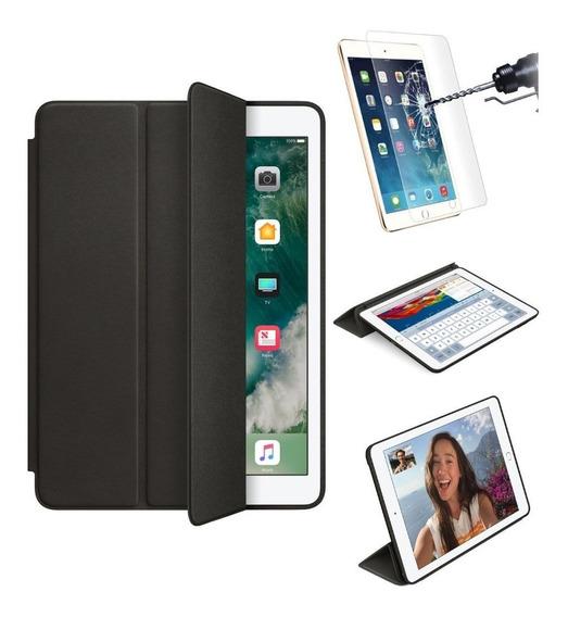 Smart Case iPad 9.7 Sensor Sleep Com 2 Películas De Vidro Resistente A Impactos A1893 A1954 6 Geração Preta