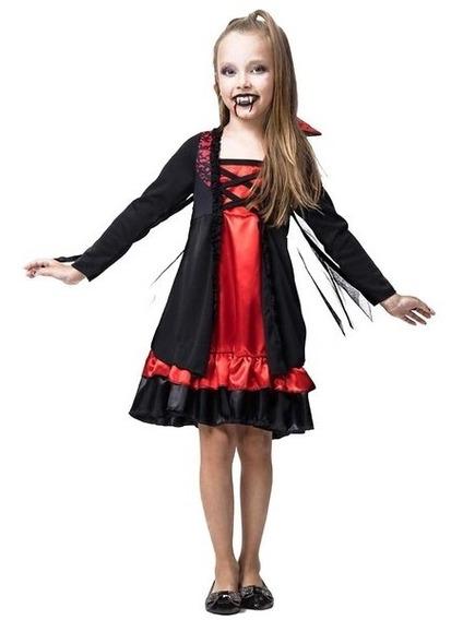 Roupa De Halloween Infantil Vampira Vestido Envio Em 24h
