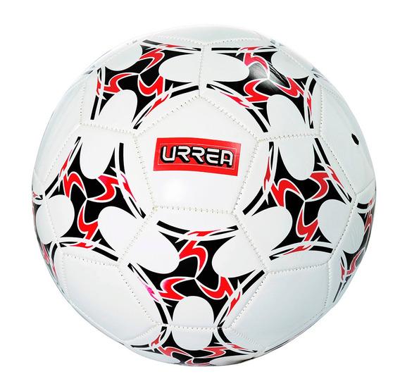 Balón De Fútbol #5 En Vinil Color Blanco Con Vivos En Rojo Y