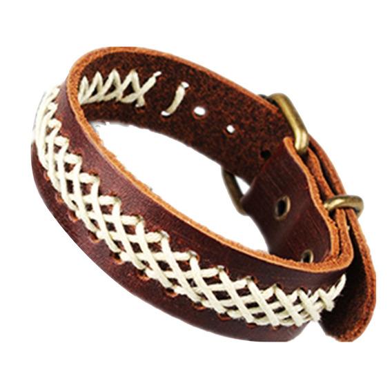 Unisex Men Women Black Brown Cotton Rope Braided Leather Bra