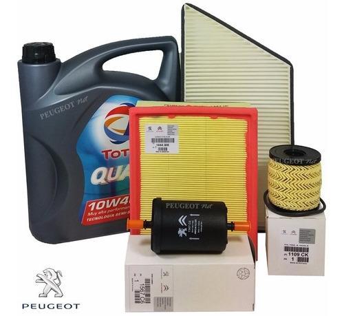 Kit 4 Filtros + Aceite Total 7000 P/ Peugeot 206 1.4 Nafta