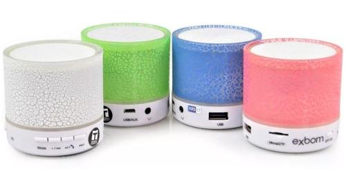 Caixinha De Som Exbom Luz De Led Recarregável Bluetooth Fm