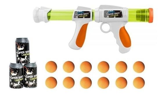 Arma Tipo Nerf Lançador Super Shot Batalha 10 Bolas + Alvos