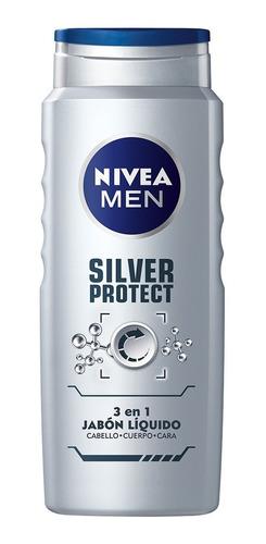 Imagen 1 de 6 de Gel Ducha Cuerpo Rostro Cabello Nivea Silver Protect 500 Ml
