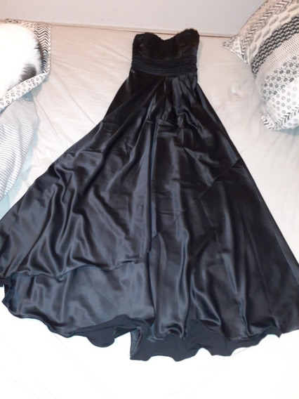 Vestido De Fiesta Seda Negra Strapless, Excelente Estado