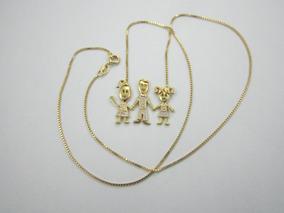 Belíssimo Colar Com Três Crianças - Ouro 18k - 4.13gr