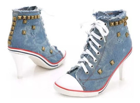 Tênis Jeans De Salto Com Spikes Sneakers Pronta Entrega