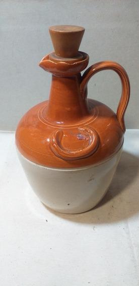Antiguo Botellón De Vino De Cerámica En Dos Colores