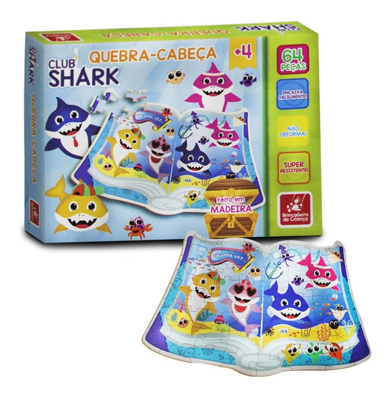Quebra-cabeça Infantil Club Shark - 64 Peças Em Madeira