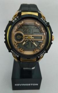 Reloj Kevingston Anadigito Hombre. Luz, Cronom, Alarma