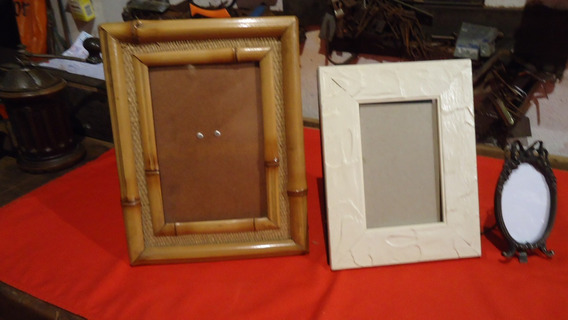 Lote Com 3 Porta Retratos, Um Em Bronze