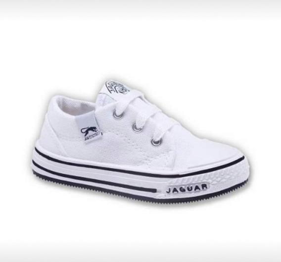 Zapatillas Lona Blanca Para Niños Escuela.club. Marca Jaguar
