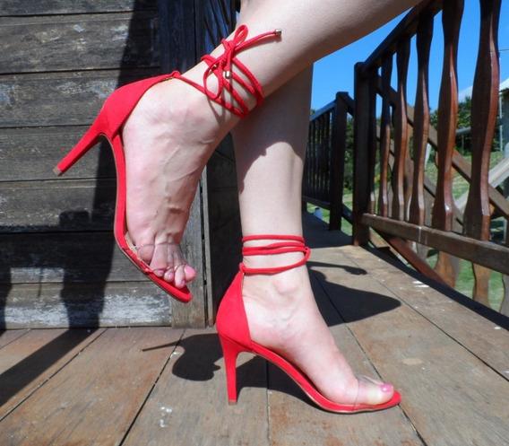 Sandália Salto Fino Feminino Transparência Amarração