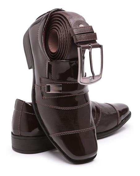 Sapato Social Infantil Couro Sintetico 444 Verniz + Cinto