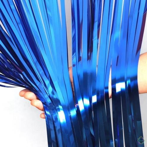 Cortina Metalizada Para Fiestas Azul Rey