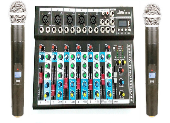 Kit Mesa De Som 6 Canais + Microfone Sem Fio Caixa De Som Nf