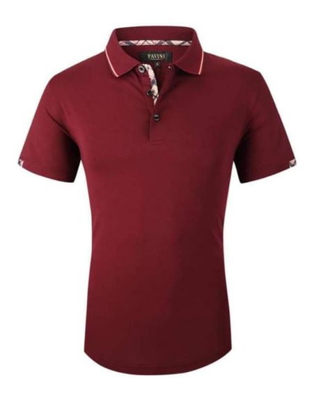 Playera Hombre Polo Pavini Original P758 Burgundy ( 1 )