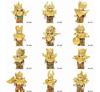 12 Caballeros Zodiaco Dorados Diferentes Compatible Lego