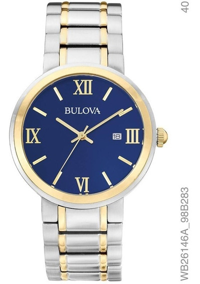 Relógio Bulova Feminino Bicolor Fundo Azul Wb26146a