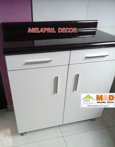 Mueble Bajo Cocina 80 Cm En Melamine Con Cajones Y Puerta