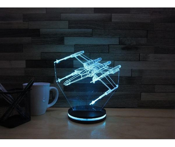 Lámpara Led Efecto 3d, Star Wars X-wing, 7 Colores