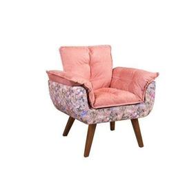 Poltrona Cadeira Decorativa Opalla Rosa Com Borboletas Sala