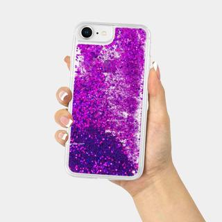 Bumper De Glitter Morado Para iPhone Con Mica De Cristal