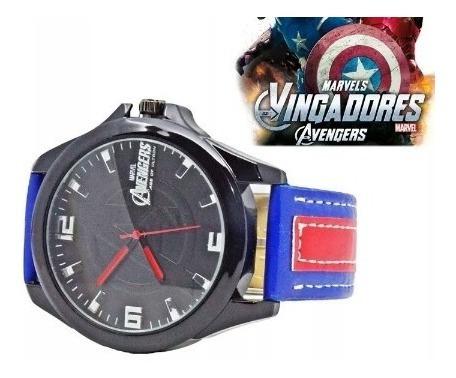 Relógio Os Vingadores Avengers Marvel Com Pulseira De Couro