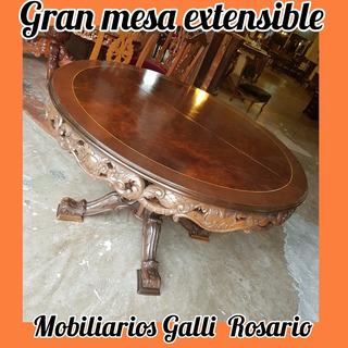 Galli Antigua Gran Mesa Comedor Redonda Extensible Impecable