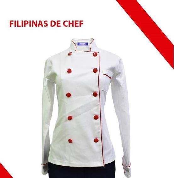 Filipina De Chef Manga Larga Color Blanco Con Vivos Rojo