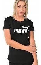 Puma Remera Essential Logo Negro/blanco - Mujer Moda
