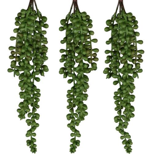 4 Suculentas Plantas Artificiais Pendente Em Silicone Verde