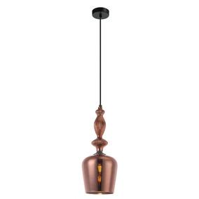 Pendente Moderno 1 Lâmpada Vidro Bronze 18cm X 43,5cm +luz