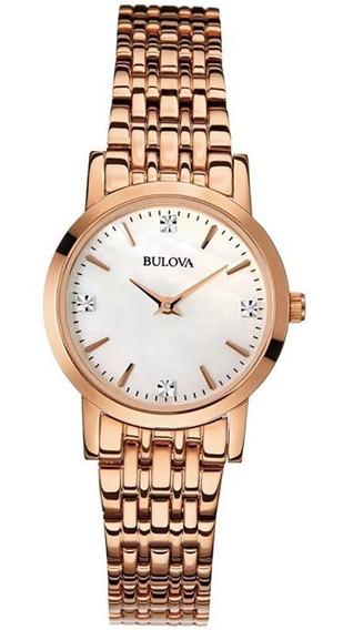 Relogio Bulova Feminino Slim Rose Com Diamantes Wb27449z