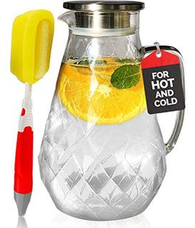 Pykal Glass Water Pitcher With Diamond Pattern