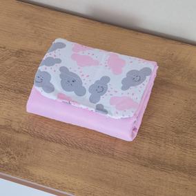 Trocador Portátil Bebê Menina Nuvem Rosa 2 Bolsos