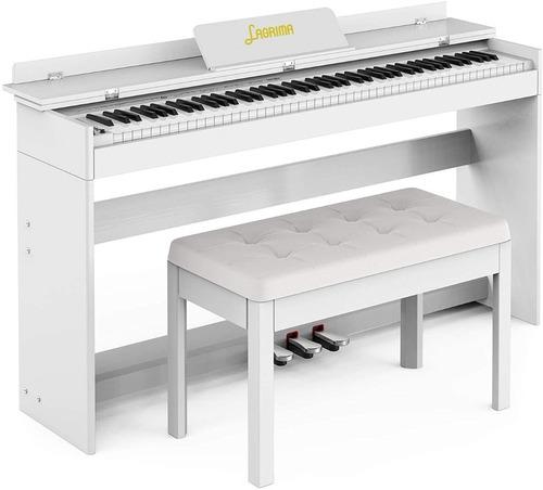 Piano Digital Lagrima - Color Blanco Con Banco De Regalo