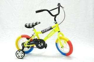 Bici Cross Rodado 12 Varon O Nena Rueda Maciza De 3 Colores