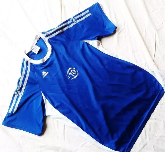 Remera Azul adidas Original Cuello Redondo Talle L Excelente