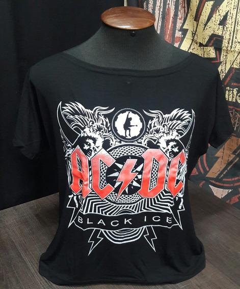 Camiseta Ac/dc Feminina Ice Canoa Viscose Show Malhas Smfa