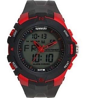 Relógio Speedo Preto Detalhes Vermelho Anadigi 81136 G0evnp1